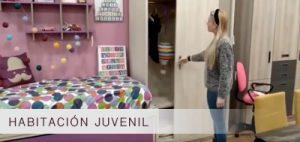 Habitación juvenil | Cama con desplegable + cajonera | Armario corredero